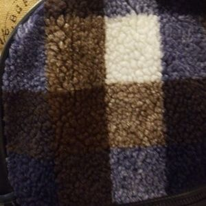 Mossimo Supply Co. Bags - Mossimo navy blue backpack fleece plaid Rack:5:518